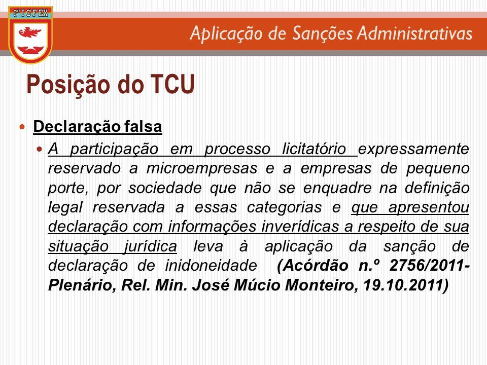 Posição do TCU Declaração falsa