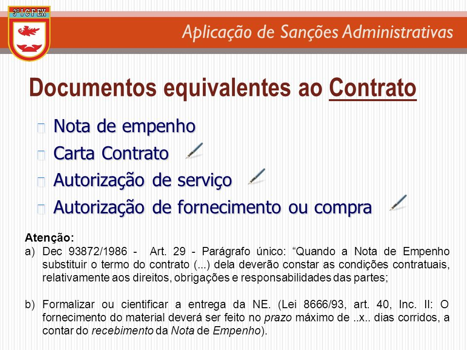 Documentos equivalentes ao Contrato