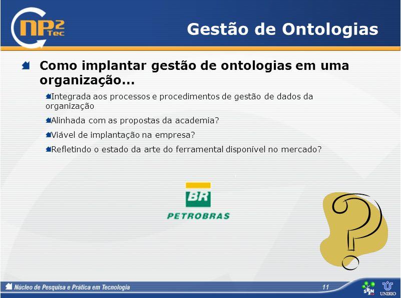 Gestão de Ontologias Como implantar gestão de ontologias em uma organização...
