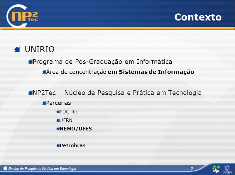 Contexto UNIRIO Programa de Pós-Graduação em Informática