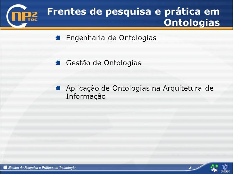 Frentes de pesquisa e prática em Ontologias
