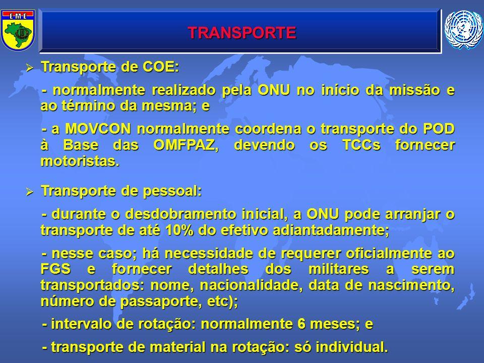 TRANSPORTE Transporte de COE: