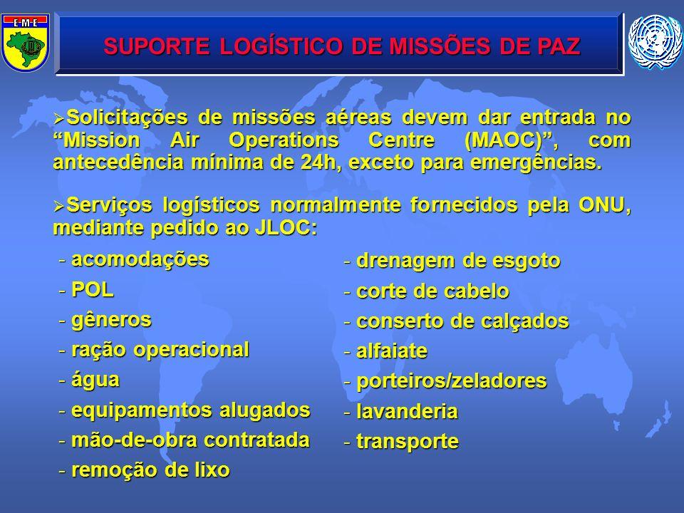 SUPORTE LOGÍSTICO DE MISSÕES DE PAZ