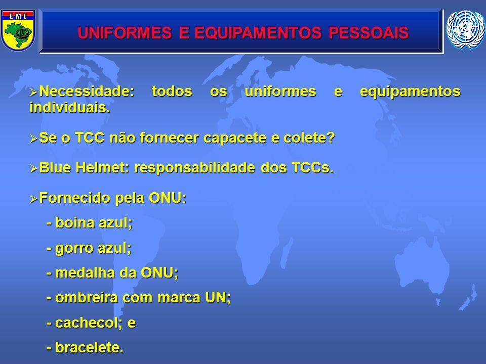 UNIFORMES E EQUIPAMENTOS PESSOAIS