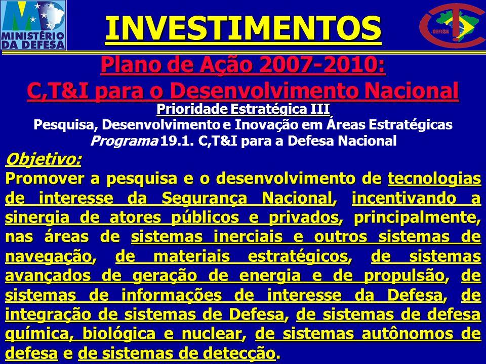 INVESTIMENTOS Plano de Ação 2007-2010: