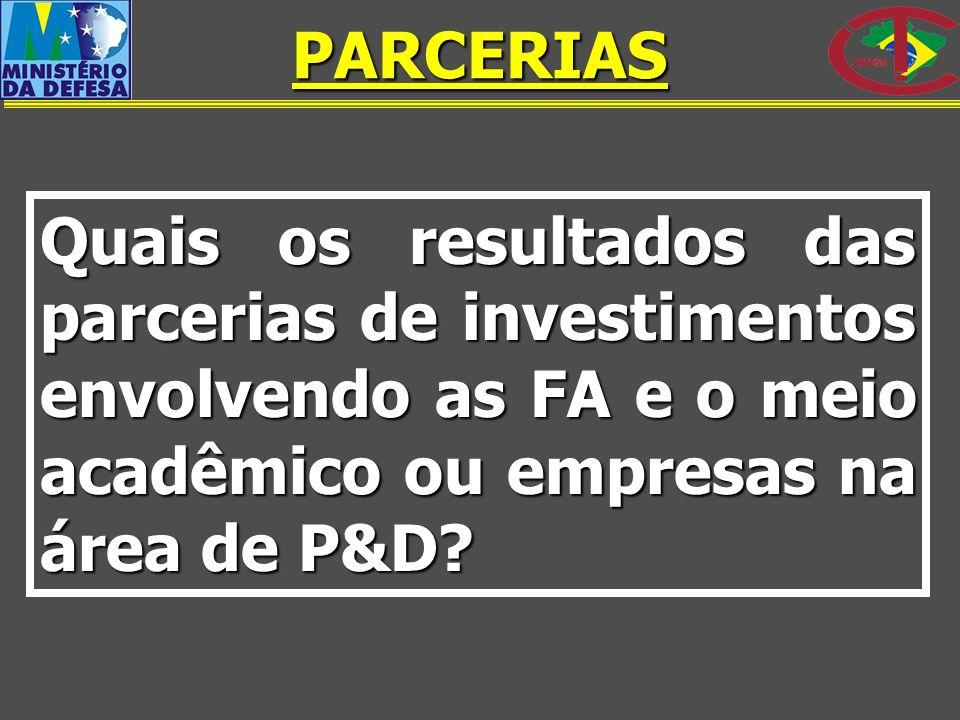 PARCERIAS Quais os resultados das parcerias de investimentos envolvendo as FA e o meio acadêmico ou empresas na área de P&D