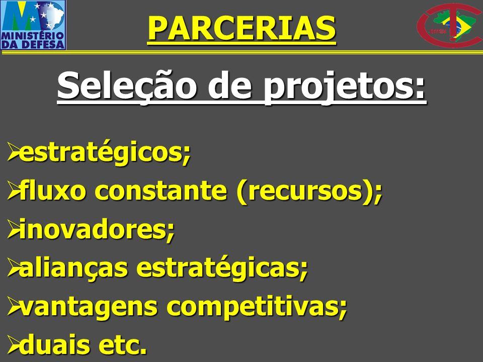 Seleção de projetos: PARCERIAS estratégicos;