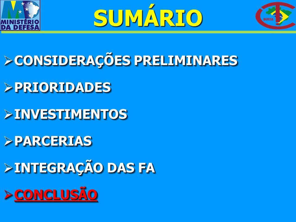 SUMÁRIO CONSIDERAÇÕES PRELIMINARES PRIORIDADES INVESTIMENTOS PARCERIAS