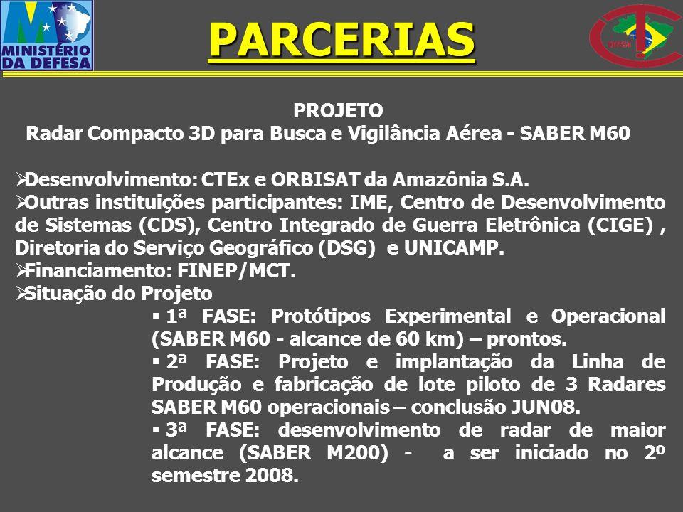 PARCERIAS PROJETO. Radar Compacto 3D para Busca e Vigilância Aérea - SABER M60. Desenvolvimento: CTEx e ORBISAT da Amazônia S.A.