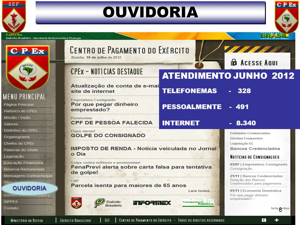 OUVIDORIA ATENDIMENTO JUNHO 2012 TELEFONEMAS - 328 PESSOALMENTE - 491