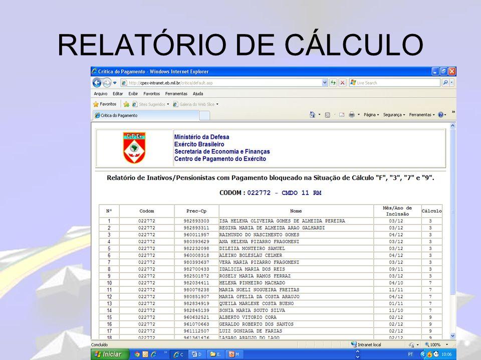 RELATÓRIO DE CÁLCULO