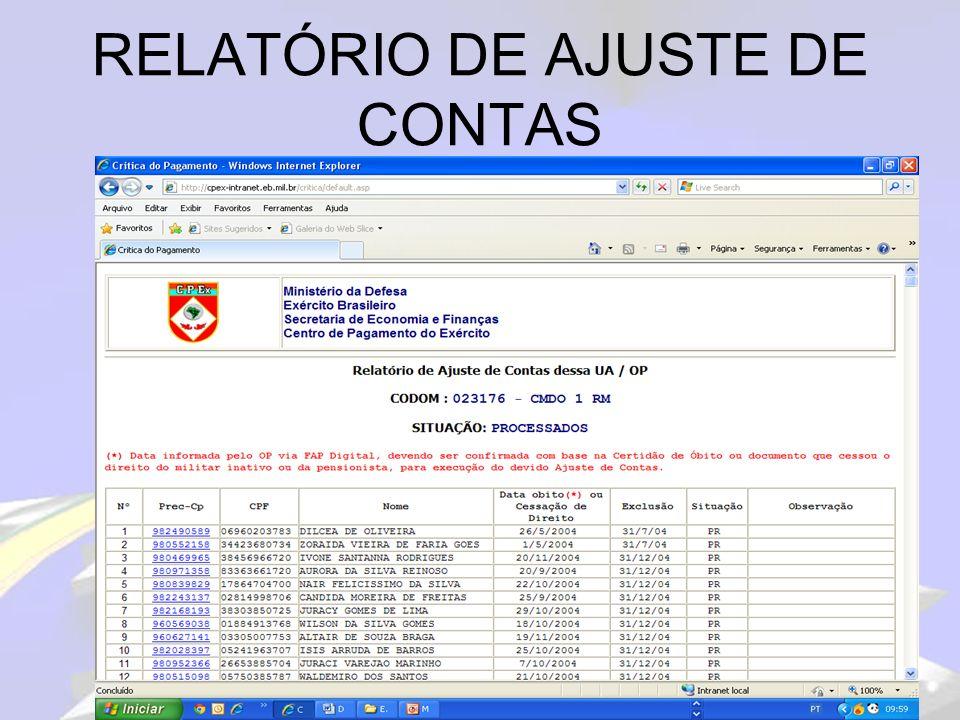 RELATÓRIO DE AJUSTE DE CONTAS