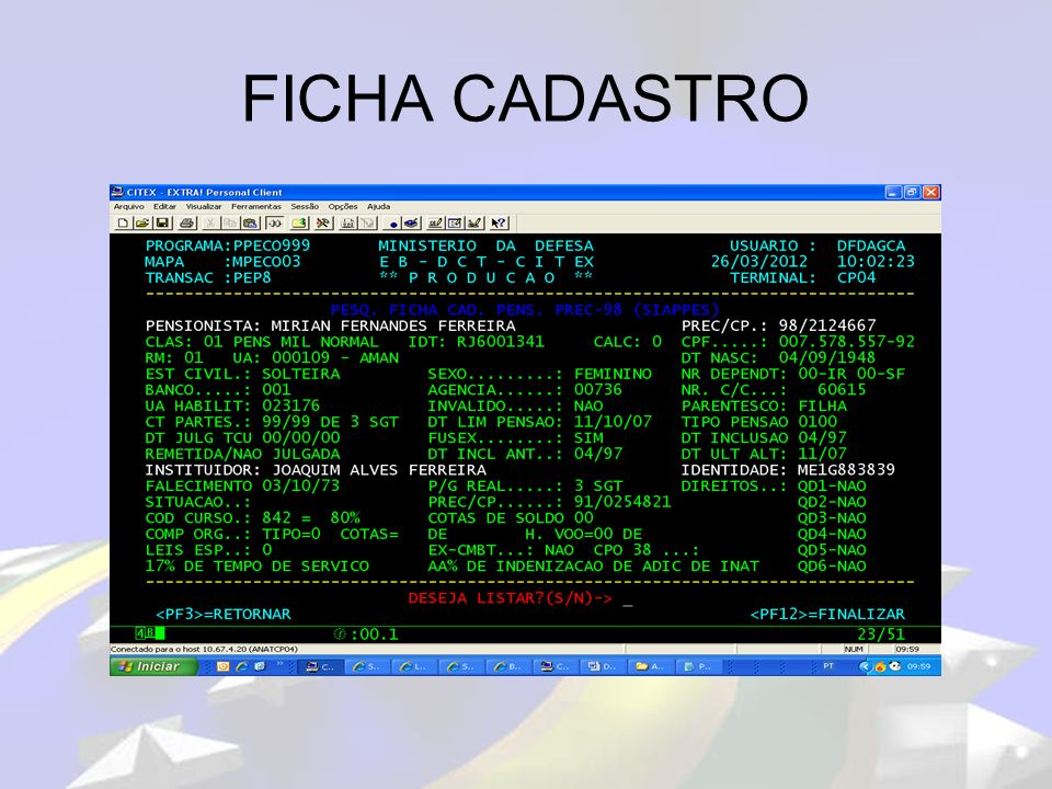 FICHA CADASTRO