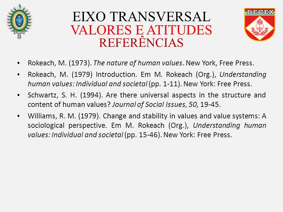 EIXO TRANSVERSAL VALORES E ATITUDES REFERÊNCIAS