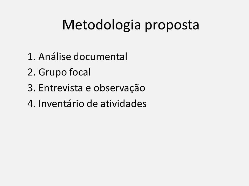 Metodologia proposta 1. Análise documental 2. Grupo focal