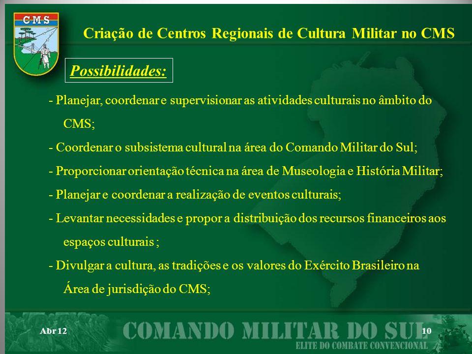 Possibilidades: Criação de Centros Regionais de Cultura Militar no CMS