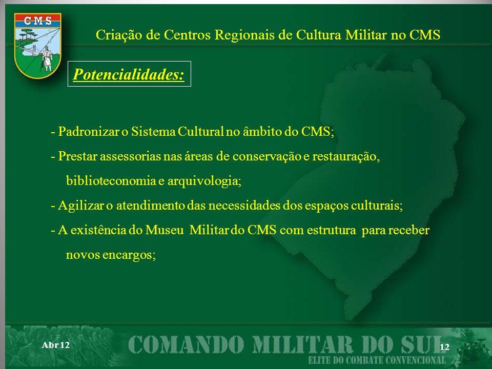 Criação de Centros Regionais de Cultura Militar no CMS