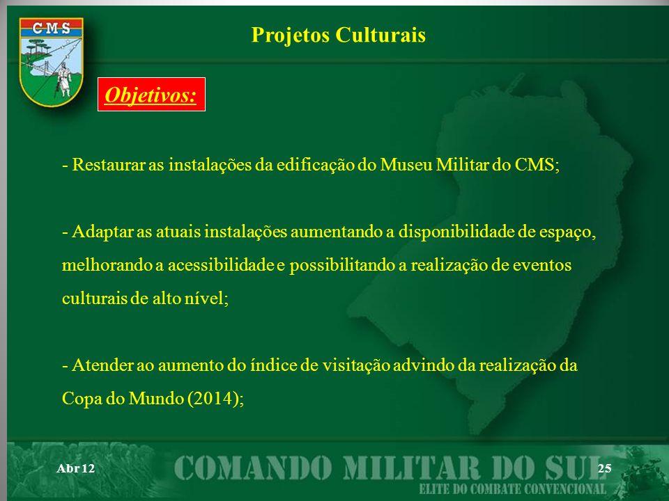 Projetos Culturais Objetivos: