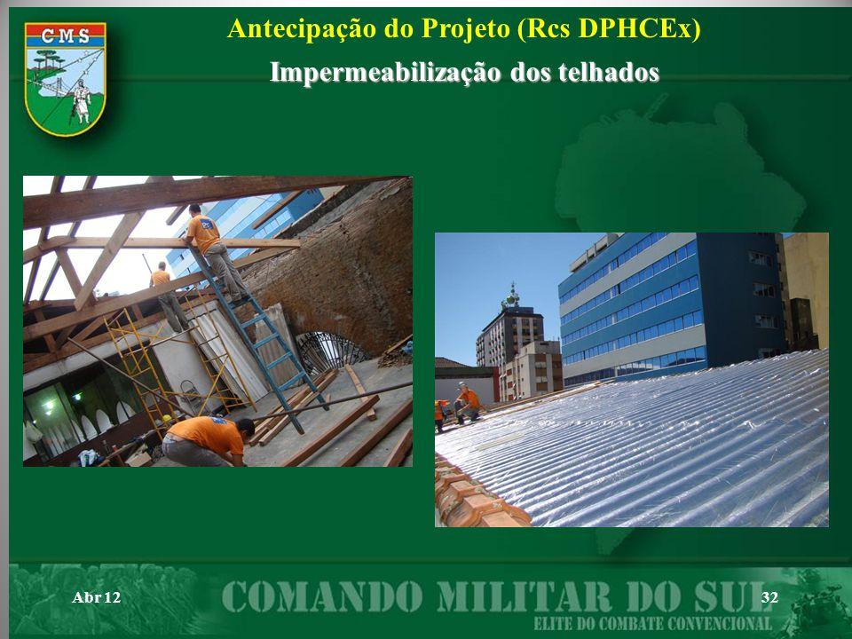 Antecipação do Projeto (Rcs DPHCEx) Impermeabilização dos telhados