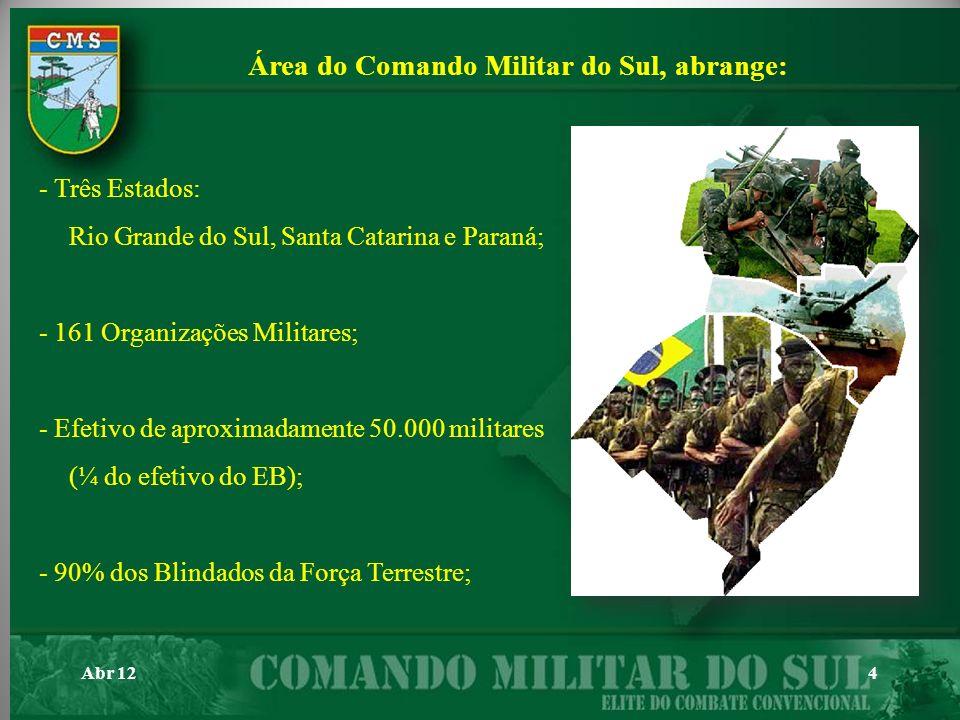 Área do Comando Militar do Sul, abrange: