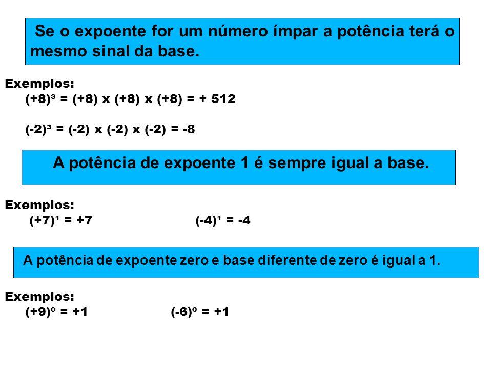 A potência de expoente 1 é sempre igual a base.