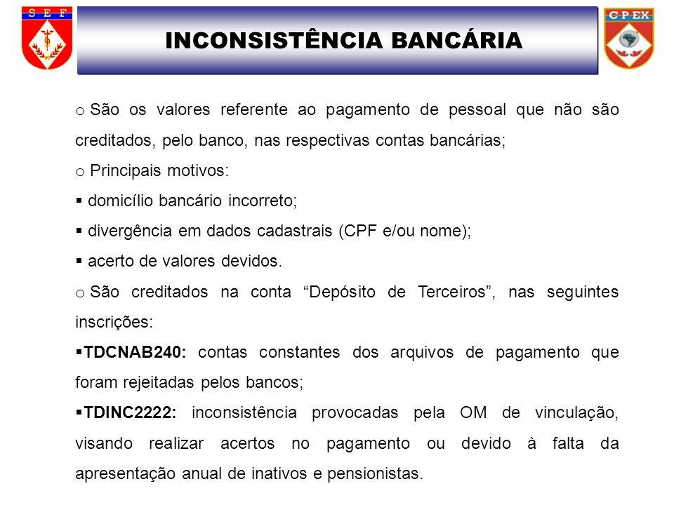INCONSISTÊNCIA BANCÁRIA