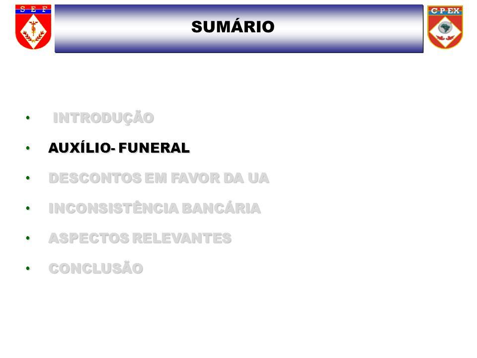 SUMÁRIO INTRODUÇÃO AUXÍLIO- FUNERAL DESCONTOS EM FAVOR DA UA