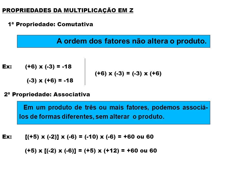 A ordem dos fatores não altera o produto.