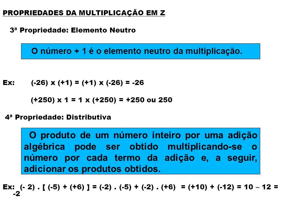 O número + 1 é o elemento neutro da multiplicação.