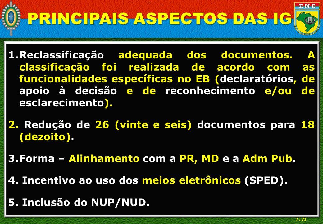 PRINCIPAIS ASPECTOS DAS IG