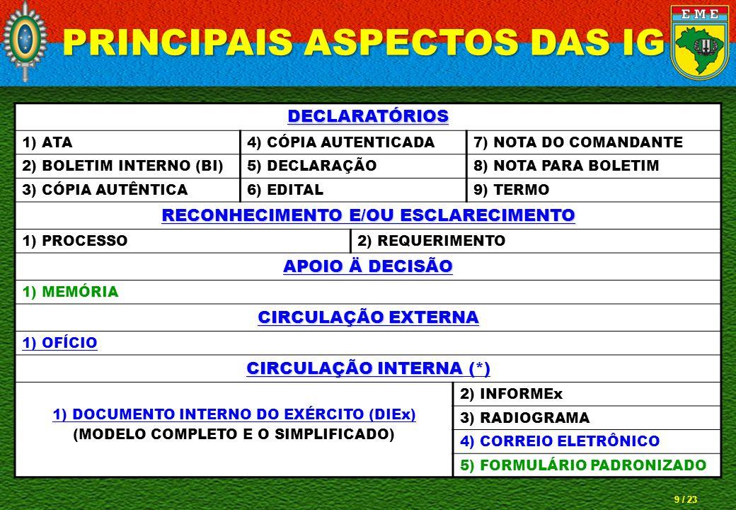 PRINCIPAIS ASPECTOS DAS IG RECONHECIMENTO E/OU ESCLARECIMENTO