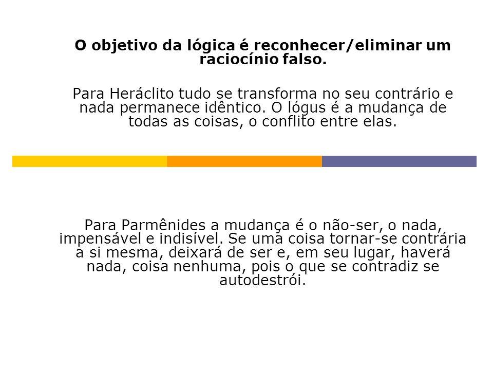 O objetivo da lógica é reconhecer/eliminar um raciocínio falso.