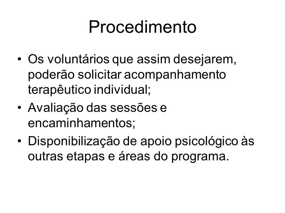 Procedimento Os voluntários que assim desejarem, poderão solicitar acompanhamento terapêutico individual;