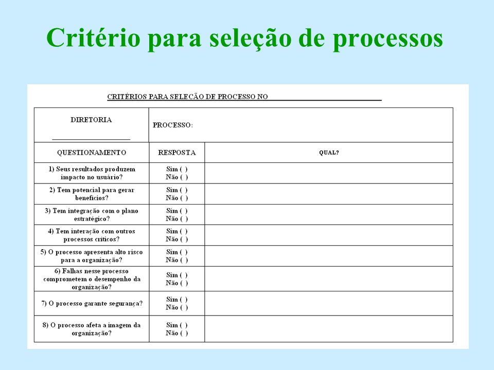 Critério para seleção de processos
