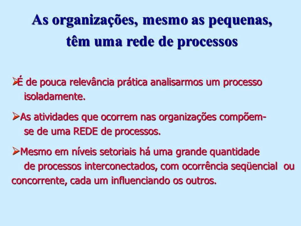As organizações, mesmo as pequenas, têm uma rede de processos