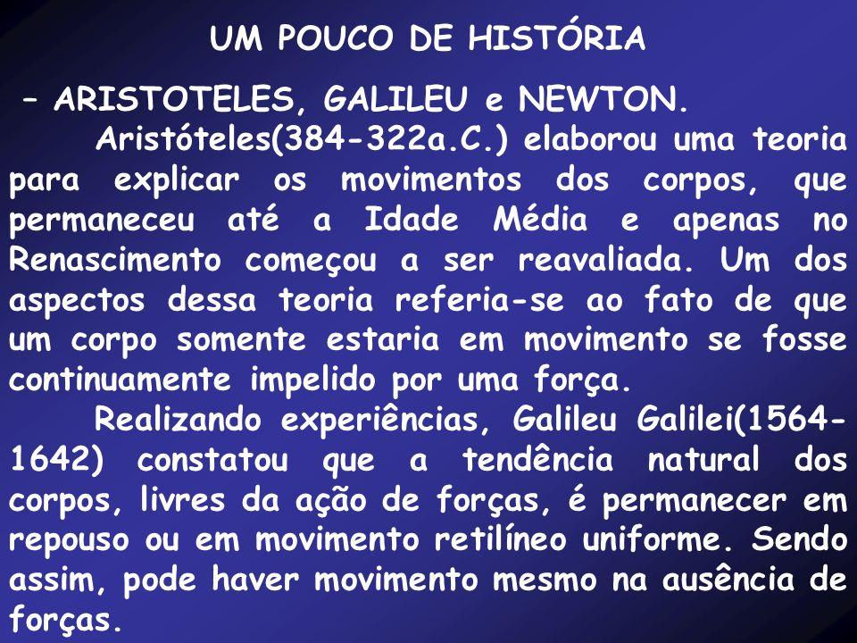 UM POUCO DE HISTÓRIA – ARISTOTELES, GALILEU e NEWTON.