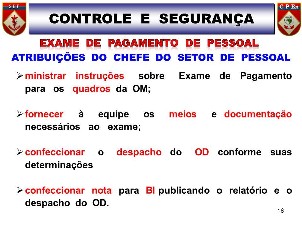 ATRIBUIÇÕES DO CHEFE DO SETOR DE PESSOAL