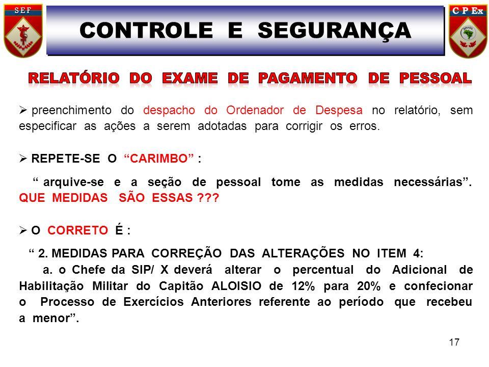 CONTROLE E SEGURANÇA RELATÓRIO DO EXAME DE PAGAMENTO DE PESSOAL