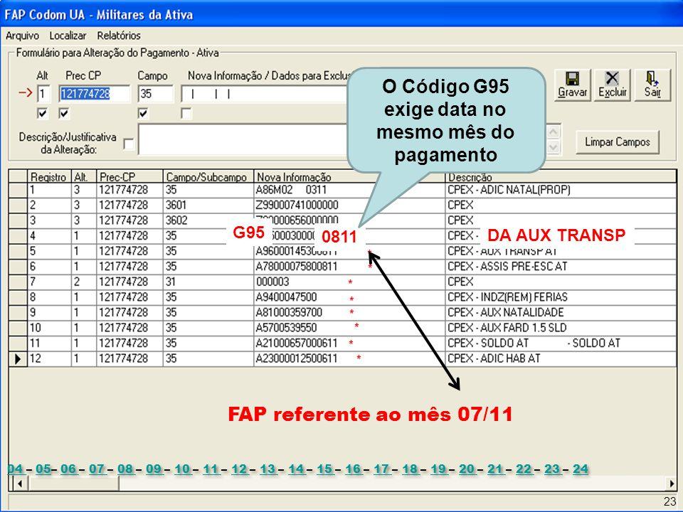 O Código G95 exige data no mesmo mês do pagamento
