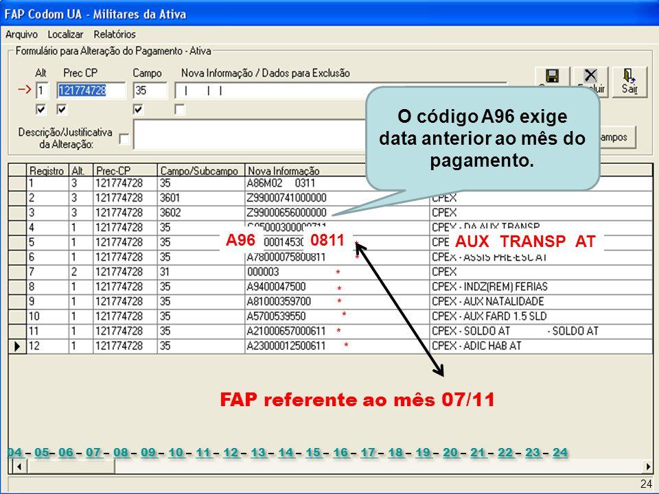 O código A96 exige data anterior ao mês do pagamento.
