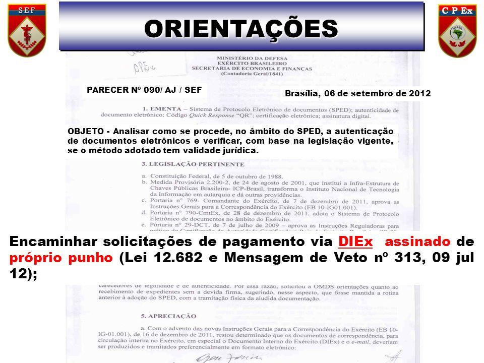 ORIENTAÇÕES PARECER Nº 090/ AJ / SEF. Brasília, 06 de setembro de 2012.