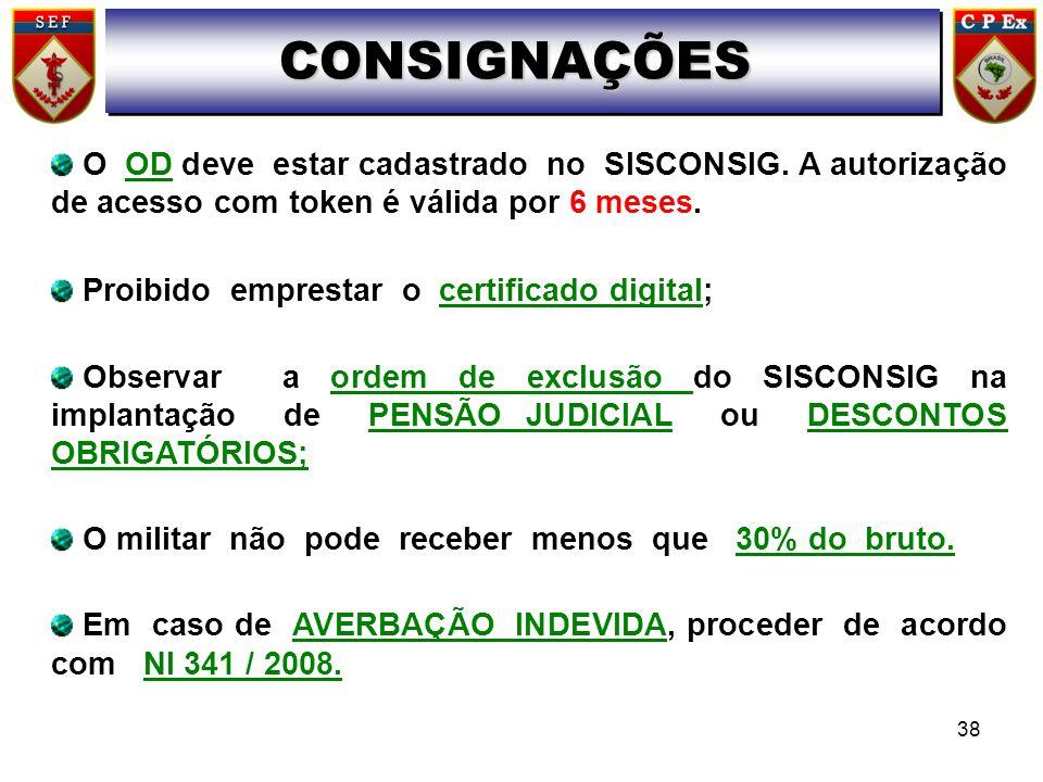 CONSIGNAÇÕES O OD deve estar cadastrado no SISCONSIG. A autorização de acesso com token é válida por 6 meses.