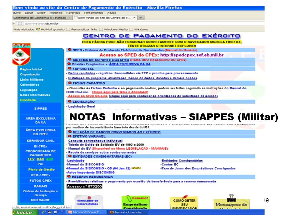 NOTAS Informativas – SIAPPES (Militar)