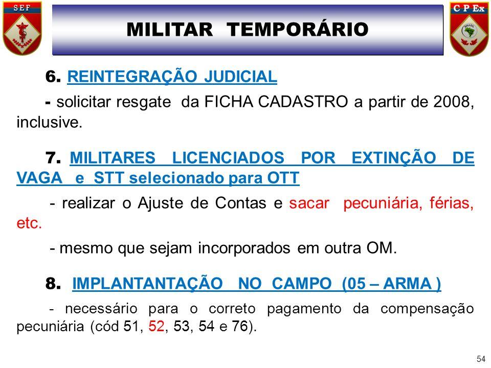 MILITAR TEMPORÁRIO 6. REINTEGRAÇÃO JUDICIAL