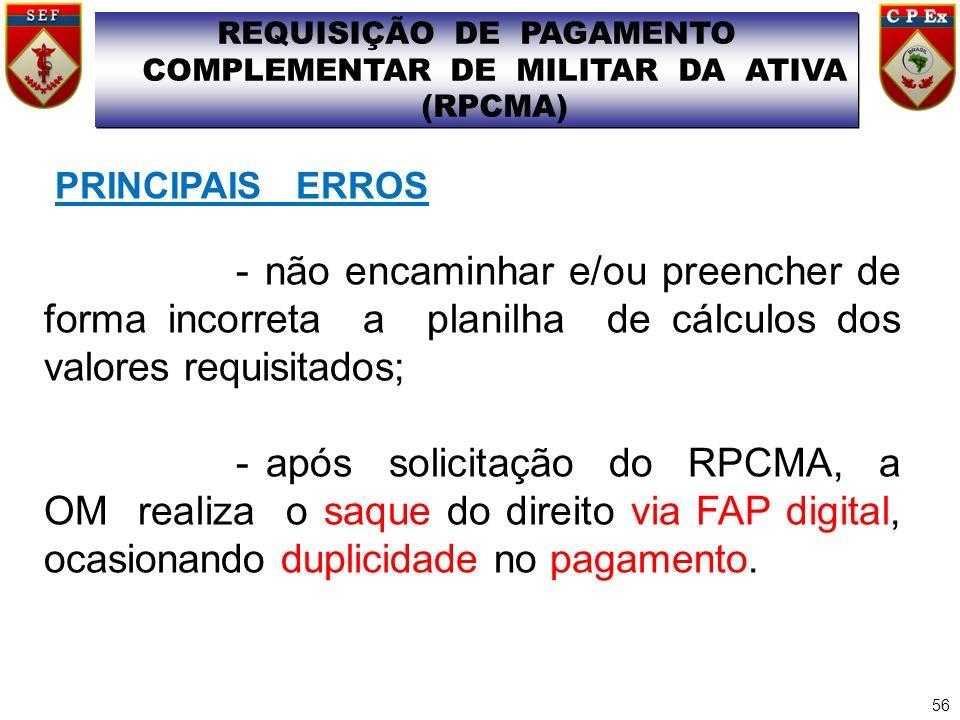 REQUISIÇÃO DE PAGAMENTO COMPLEMENTAR DE MILITAR DA ATIVA (RPCMA)