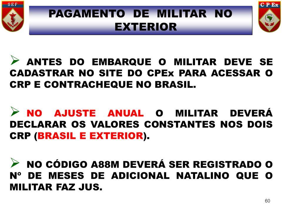 PAGAMENTO DE MILITAR NO EXTERIOR