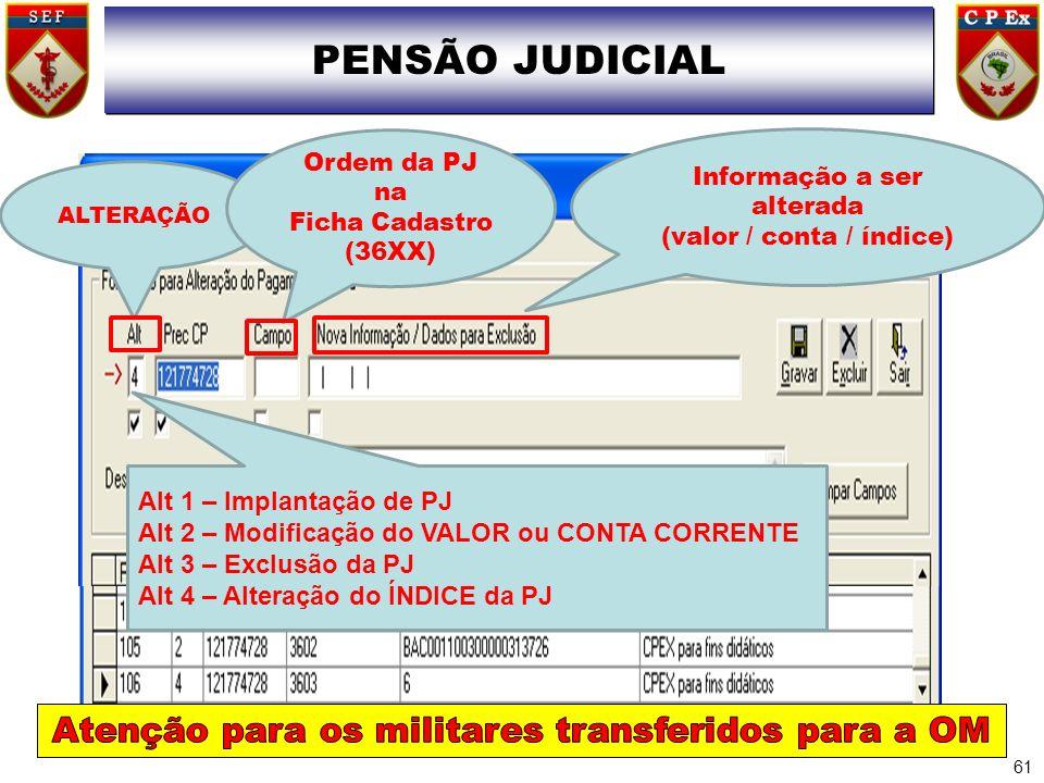PENSÃO JUDICIAL Atenção para os militares transferidos para a OM