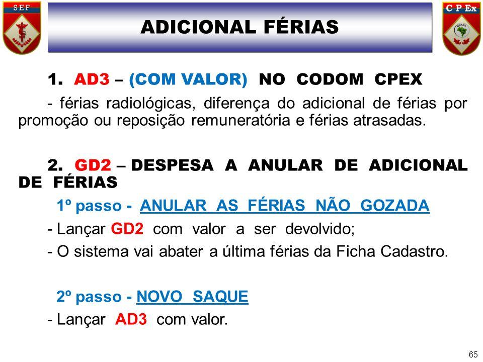 ADICIONAL FÉRIAS 1. AD3 – (COM VALOR) NO CODOM CPEX