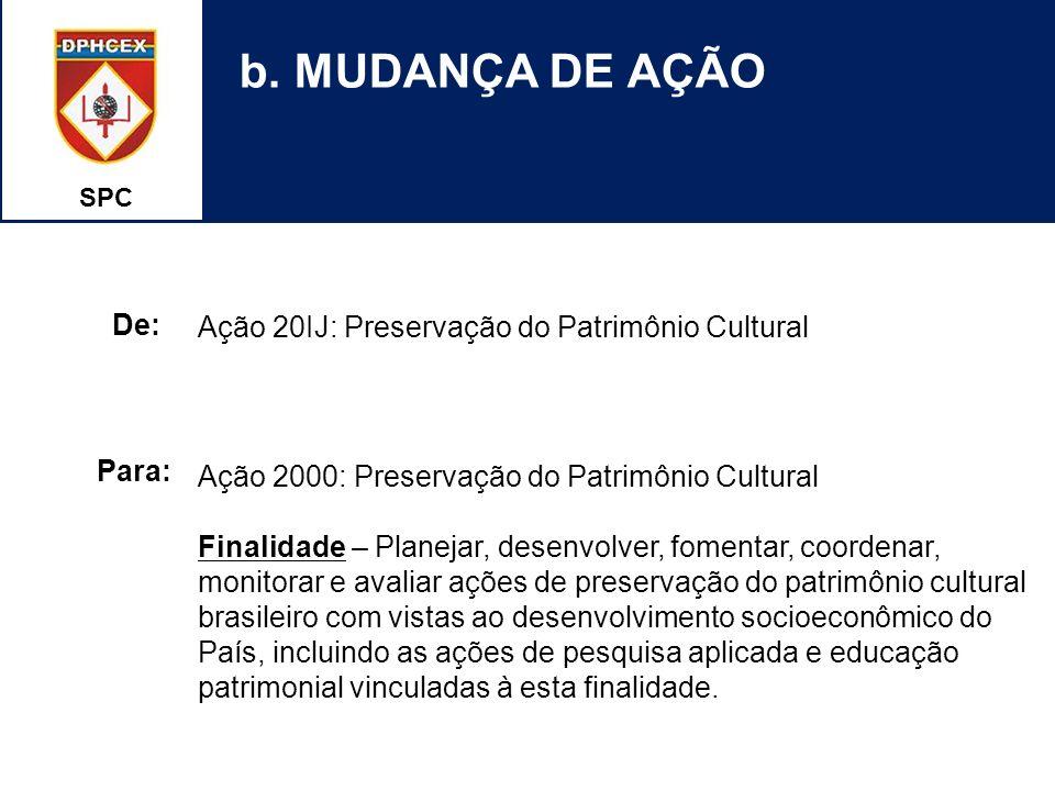 b. MUDANÇA DE AÇÃO Ação 20IJ: Preservação do Patrimônio Cultural De: