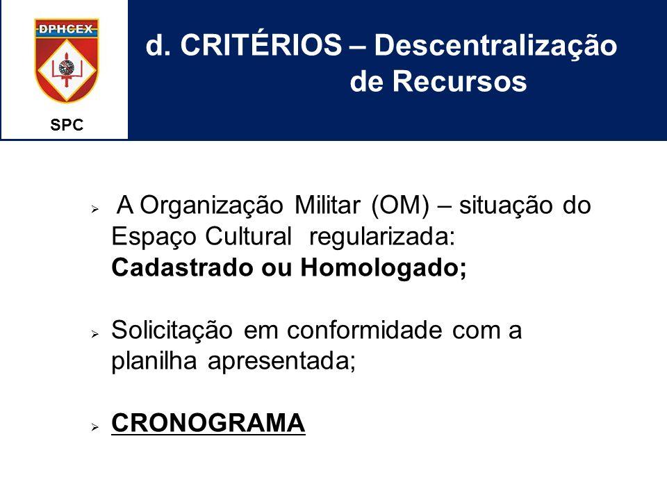 d. CRITÉRIOS – Descentralização de Recursos